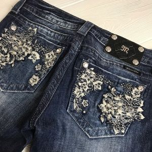 Miss Me Floral Embroidered Flare Jeans